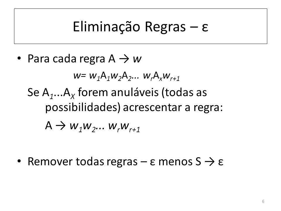 Eliminação Regras – ε Para cada regra A w w= w 1 A 1 w 2 A 2... w r A x w r+1 Se A 1...A X forem anuláveis (todas as possibilidades) acrescentar a reg