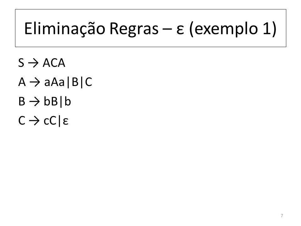 Eliminação Regras – ε (exemplo 1) S ACA A aAa|B|C B bB|b C cC|ε 7