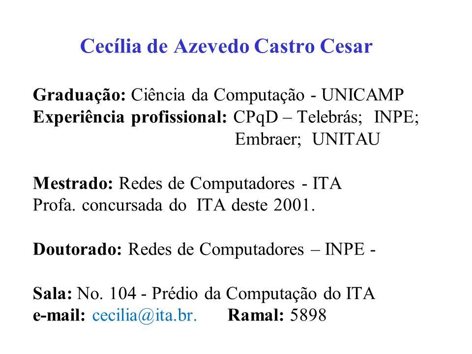 Cecília de Azevedo Castro Cesar Graduação: Ciência da Computação - UNICAMP Experiência profissional: CPqD – Telebrás; INPE; Embraer; UNITAU Mestrado: