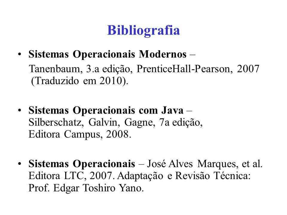 Bibliografia Sistemas Operacionais Modernos – Tanenbaum, 3.a edição, PrenticeHall-Pearson, 2007 (Traduzido em 2010). Sistemas Operacionais com Java –