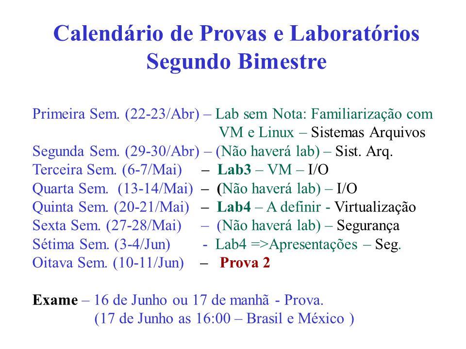 Primeira Sem. (22-23/Abr) – Lab sem Nota: Familiarização com VM e Linux – Sistemas Arquivos Segunda Sem. (29-30/Abr) – (Não haverá lab) – Sist. Arq. T