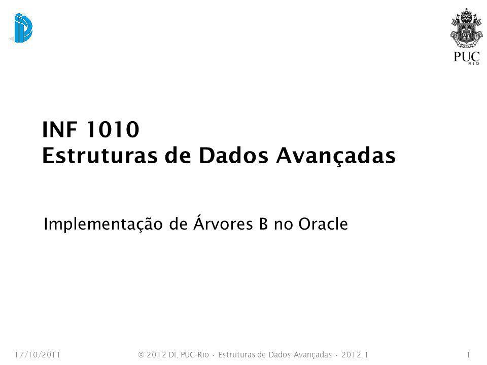 Armazenamento no Oracle Estrutura de armazenamento 17/10/2011© 2012 DI, PUC-Rio Estruturas de Dados Avançadas 2012.12
