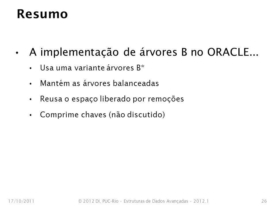 Resumo A implementação de árvores B no ORACLE... Usa uma variante árvores B* Mantém as árvores balanceadas Reusa o espaço liberado por remoções Compri