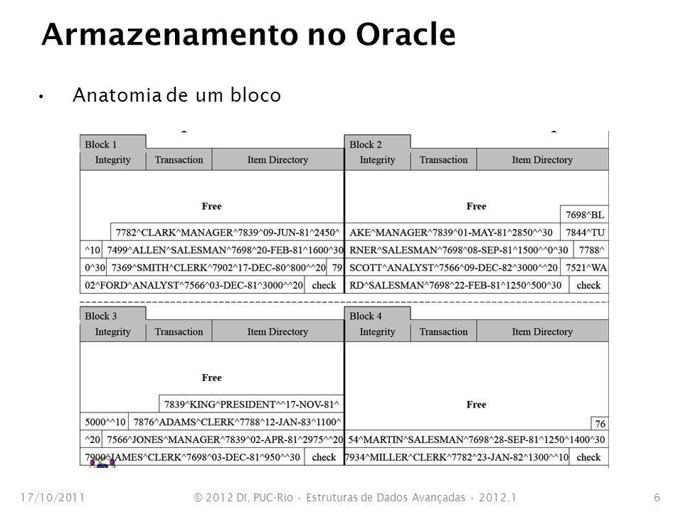 Árvores B em Oracle Características da implementação Segue uma forma de árvores B* Uma árvore está sempre balanceada Cada folha aponta para a antecessora e a sucessora Cada folha contém chaves e apontadores para as linhas das tabelas Update = delete + insert 17/10/2011© 2012 DI, PUC-Rio Estruturas de Dados Avançadas 2012.17