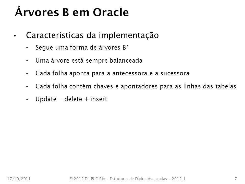Árvores B em Oracle Características da implementação Segue uma forma de árvores B* Uma árvore está sempre balanceada Cada folha aponta para a antecess