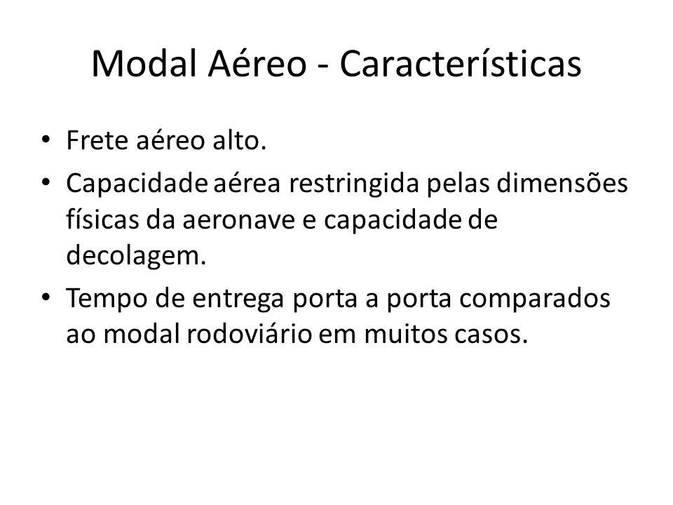 Modal Aéreo - Características Frete aéreo alto. Capacidade aérea restringida pelas dimensões físicas da aeronave e capacidade de decolagem. Tempo de e