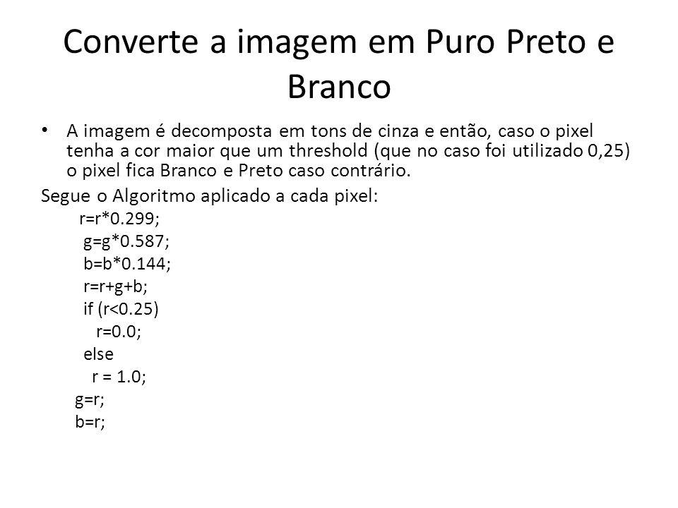 Converte a imagem em Puro Preto e Branco A imagem é decomposta em tons de cinza e então, caso o pixel tenha a cor maior que um threshold (que no caso foi utilizado 0,25) o pixel fica Branco e Preto caso contrário.