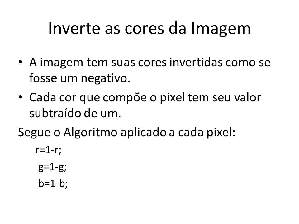 Inverte as cores da Imagem A imagem tem suas cores invertidas como se fosse um negativo.