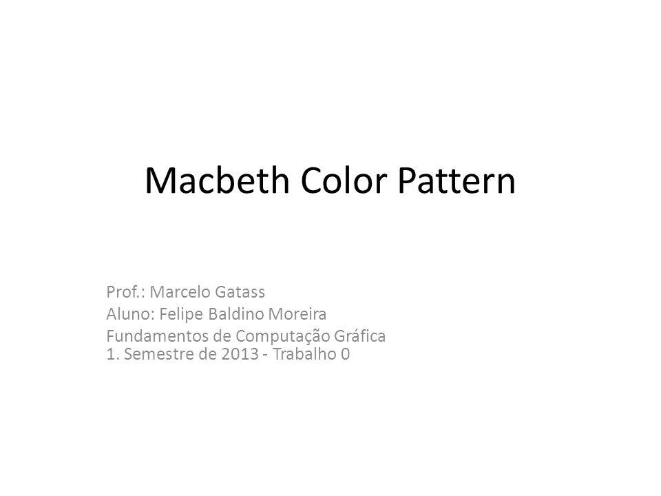 O padrão Macbeth gerado O Padrão MacBeth gamma = 1.6/2.4