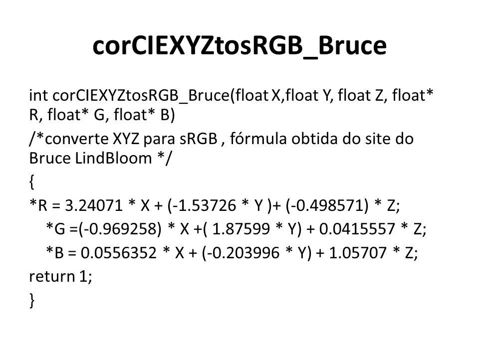 gamma_sRGB(double x) static double gamma_sRGB(double x){ /* Retorna o valor da cor x corrigido com a correção gamma */ double ft,t = (x>0)?x:-x; if (t>0.0031308) ft = 1.055*pow(t,fVargamma)-0.055; /*código original ft = 1.055*pow(t,1.0/2.4)-0.055; */ else ft = 12.92*t; return (x>0)?ft:-ft; }