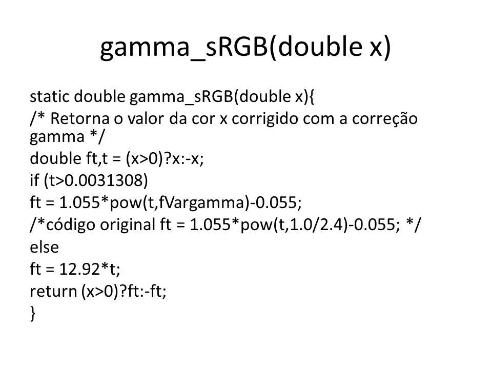 inv_gamma_sRGB static double inv_gamma_sRGB( float x) { /* Como foi alterada a função da variação gamma, também foi necessário alterar a inv_gamma_sRGB */ double ft,t=(double) (x>0)?x:-x; if ( t > 0.04045 ) ft = pow((t+0.055)/1.055,fVargamma); /*alterado de 2.4 para fVargamma */ else ft = t/12.92; return (x>0)?ft:-ft; }
