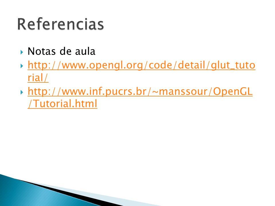 Notas de aula http://www.opengl.org/code/detail/glut_tuto rial/ http://www.opengl.org/code/detail/glut_tuto rial/ http://www.inf.pucrs.br/~manssour/Op