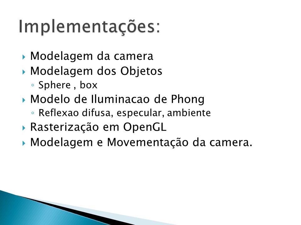 Modelagem da camera Modelagem dos Objetos Sphere, box Modelo de Iluminacao de Phong Reflexao difusa, especular, ambiente Rasterização em OpenGL Modela