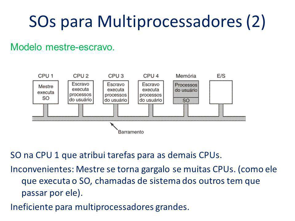SOs para Multiprocessadores (2) Modelo mestre-escravo. SO na CPU 1 que atribui tarefas para as demais CPUs. Inconvenientes: Mestre se torna gargalo se