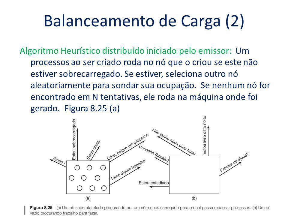 Balanceamento de Carga (2) Algoritmo Heurístico distribuído iniciado pelo emissor: Um processos ao ser criado roda no nó que o criou se este não estiv