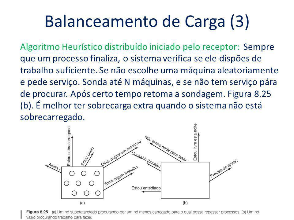 Balanceamento de Carga (3) Algoritmo Heurístico distribuído iniciado pelo receptor: Sempre que um processo finaliza, o sistema verifica se ele dispões