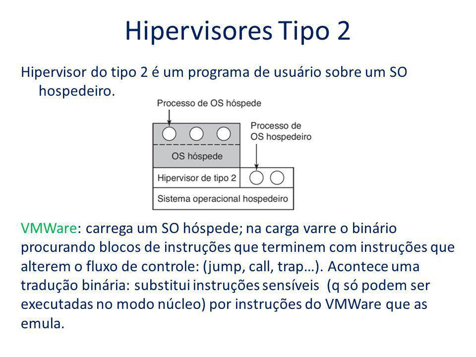 Hipervisores Tipo 2 Hipervisor do tipo 2 é um programa de usuário sobre um SO hospedeiro. VMWare: carrega um SO hóspede; na carga varre o binário proc