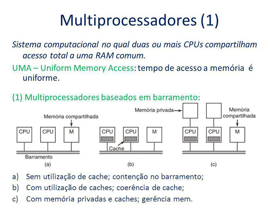 Multiprocessadores (2) Problema de (1): limite do barramento; (2) Multiprocessadores com chaves de crossbar: Reduz a contenção.