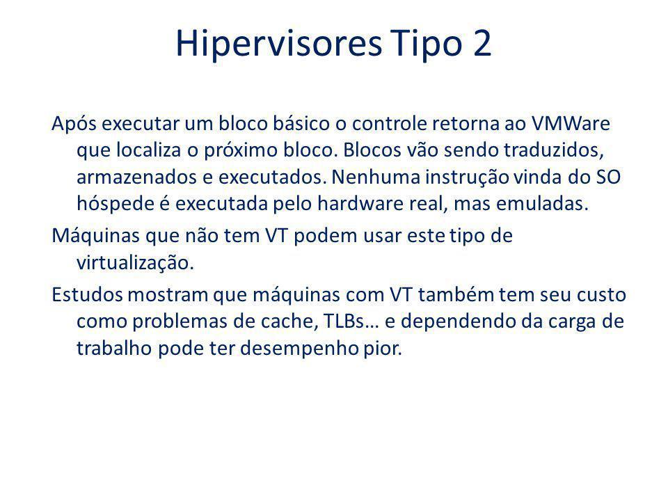 Hipervisores Tipo 2 Após executar um bloco básico o controle retorna ao VMWare que localiza o próximo bloco. Blocos vão sendo traduzidos, armazenados