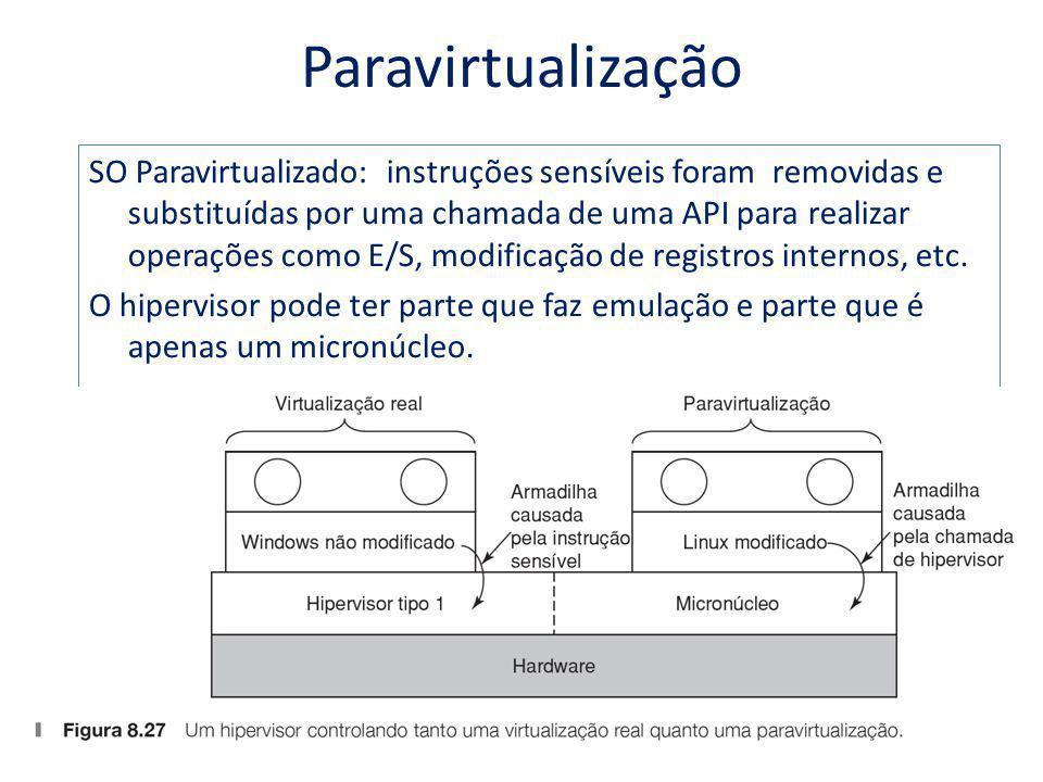 Paravirtualização SO Paravirtualizado: instruções sensíveis foram removidas e substituídas por uma chamada de uma API para realizar operações como E/S