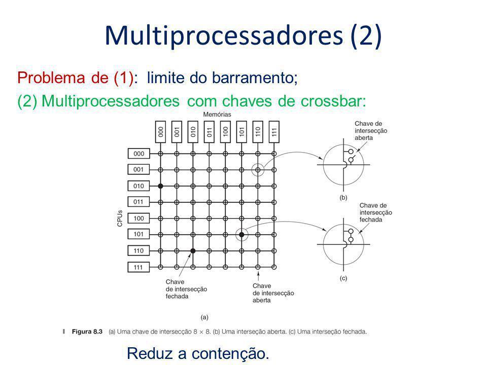 a)Uma chave 2x2: 2 entradas e 2 saídas; b)Uma mensagem que chega na entrada e é chaveada para saída Multiprocessadores (3) Problema de (2): excessivo número de cruzamentos – possível para sistemas de porte médio; (3) Multiprocessadores com redes de comutação multiestágio: Endereço dentro do módulo
