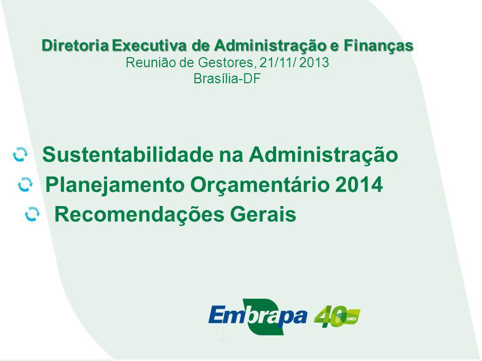 Diretoria Executiva de Administração e Finanças Reunião de Gestores, 21/11/ 2013 Brasília-DF Sustentabilidade na Administração Planejamento Orçamentário 2014 Recomendações Gerais