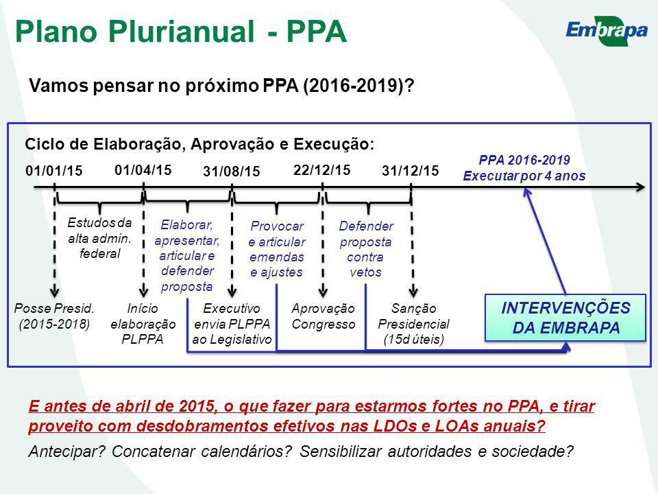 Vamos pensar no próximo PPA (2016-2019)? Plano Plurianual - PPA E antes de abril de 2015, o que fazer para estarmos fortes no PPA, e tirar proveito co