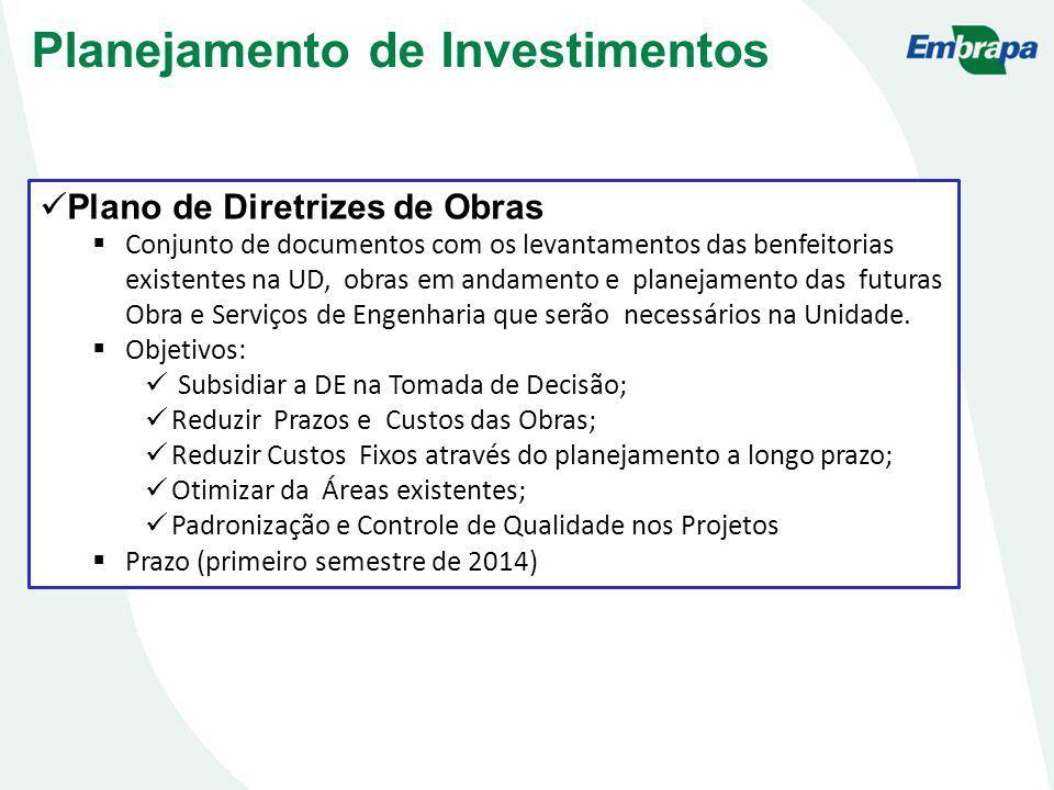 Plano de Diretrizes de Obras Conjunto de documentos com os levantamentos das benfeitorias existentes na UD, obras em andamento e planejamento das futuras Obra e Serviços de Engenharia que serão necessários na Unidade.