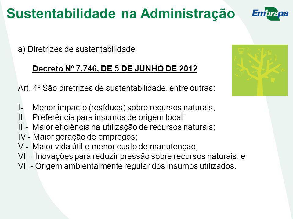 a) Diretrizes de sustentabilidade Decreto Nº 7.746, DE 5 DE JUNHO DE 2012 Art. 4º São diretrizes de sustentabilidade, entre outras: I- Menor impacto (