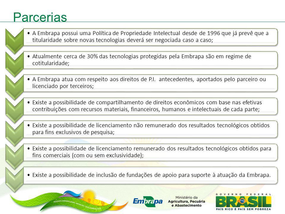 Parcerias A Embrapa possui uma Política de Propriedade Intelectual desde de 1996 que já prevê que a titularidade sobre novas tecnologias deverá ser ne