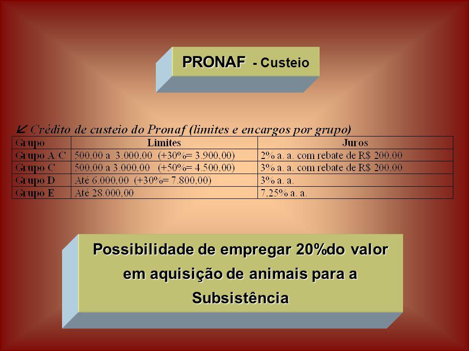 PRONAF PRONAF - Custeio Possibilidade de empregar 20%do valor em aquisição de animais para a Subsistência