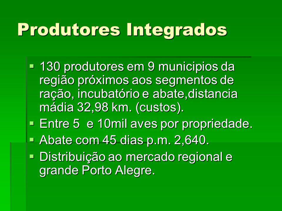 Produtores Integrados 130 produtores em 9 municipios da região próximos aos segmentos de ração, incubatório e abate,distancia mádia 32,98 km. (custos)