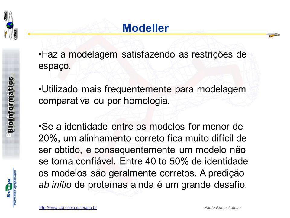 Paula Kuser Falcão http://www.cbi.cnpia.embrapa.br MODELLER ALIGN2D.top MODEL.top model.pdb Modelagem por homologia satisfazendo as restrições espaciais (estereoquímica da molécula) Sequência alvo: seq.txt Estrutura modelo: file.pdb Arquivo com alinhamento: file.ali TOP scripts: ALIGN2D.top MODEL.top Outras facilidades Loops modeling.