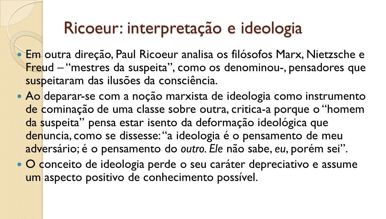 Ricoeur: interpretação e ideologia Em outra direção, Paul Ricoeur analisa os filósofos Marx, Nietzsche e Freud – mestres da suspeita, como os denomino