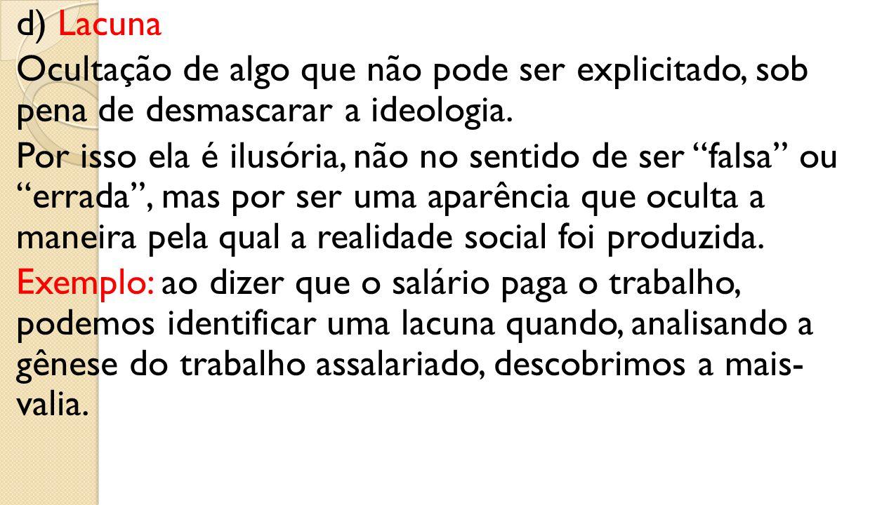 d) Lacuna Ocultação de algo que não pode ser explicitado, sob pena de desmascarar a ideologia.