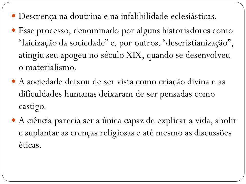 Descrença na doutrina e na infalibilidade eclesiásticas. Esse processo, denominado por alguns historiadores como laicização da sociedade e, por outros