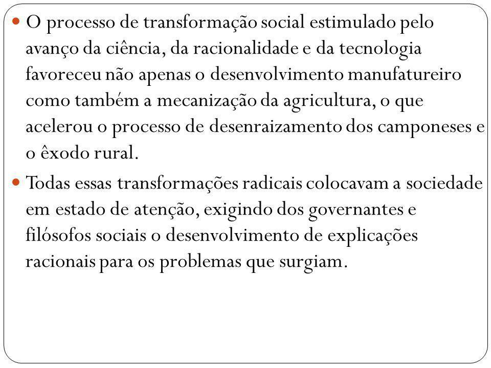 O processo de transformação social estimulado pelo avanço da ciência, da racionalidade e da tecnologia favoreceu não apenas o desenvolvimento manufatu