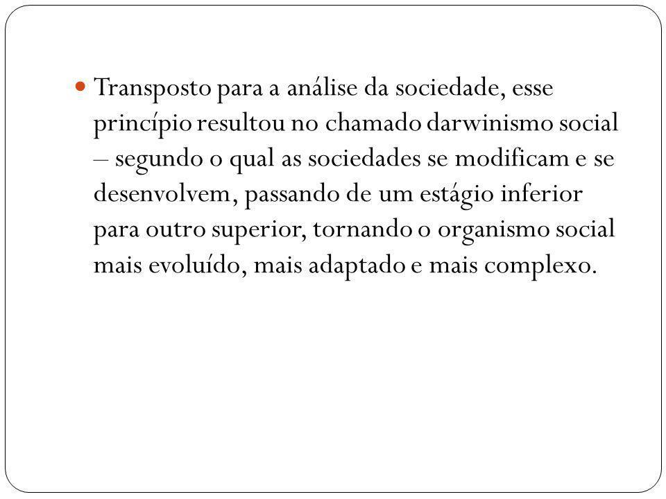 Transposto para a análise da sociedade, esse princípio resultou no chamado darwinismo social – segundo o qual as sociedades se modificam e se desenvol