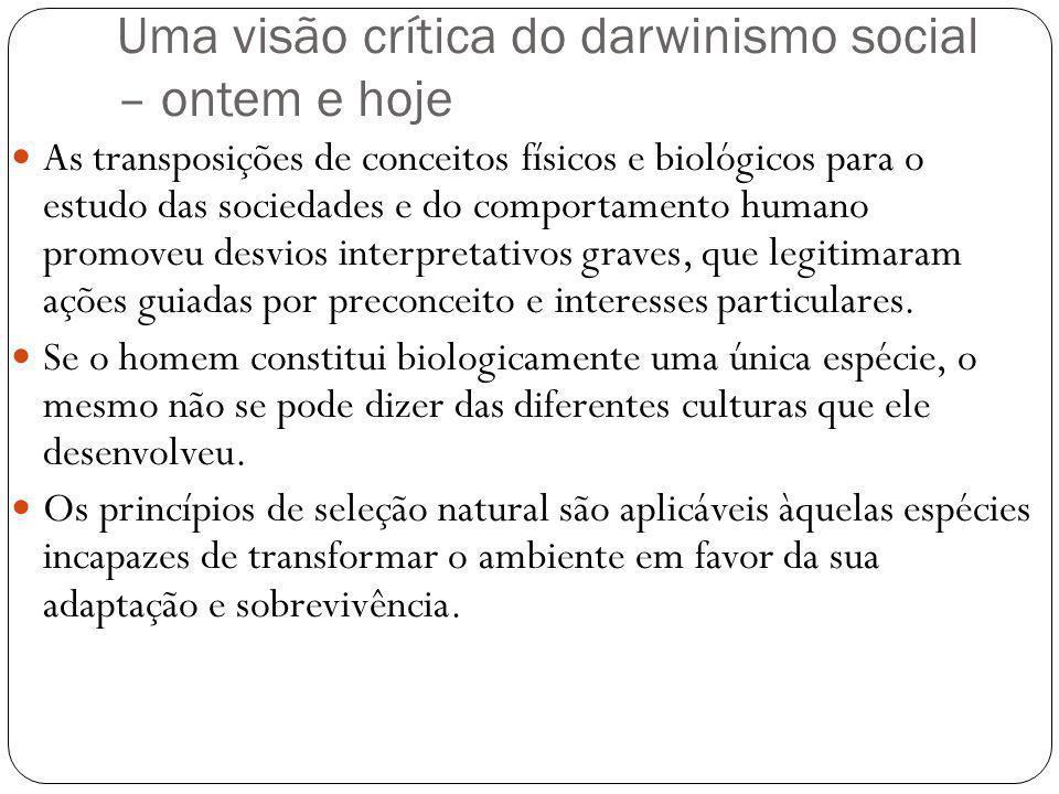 Uma visão crítica do darwinismo social – ontem e hoje As transposições de conceitos físicos e biológicos para o estudo das sociedades e do comportamen