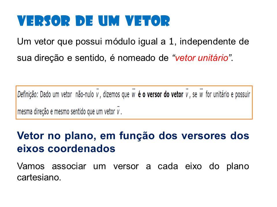 Versor de um Vetor Um vetor que possui módulo igual a 1, independente de sua direção e sentido, é nomeado de vetor unitário.