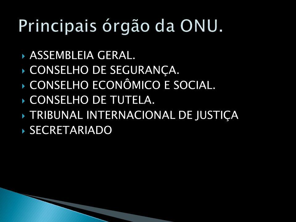 ASSEMBLEIA GERAL. CONSELHO DE SEGURANÇA. CONSELHO ECONÔMICO E SOCIAL. CONSELHO DE TUTELA. TRIBUNAL INTERNACIONAL DE JUSTIÇA SECRETARIADO