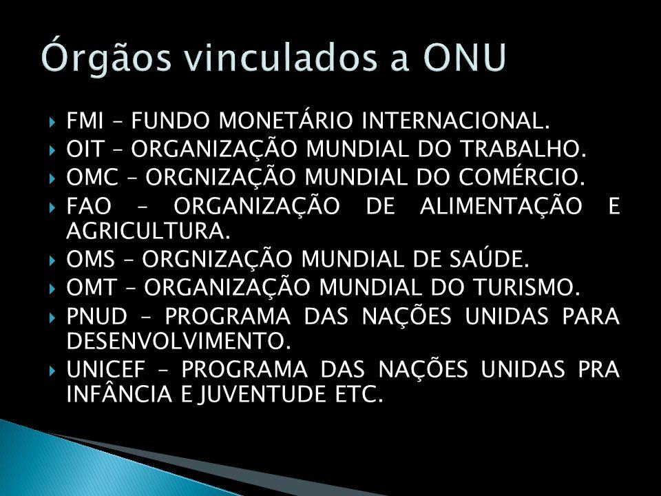 FMI – FUNDO MONETÁRIO INTERNACIONAL. OIT – ORGANIZAÇÃO MUNDIAL DO TRABALHO. OMC – ORGNIZAÇÃO MUNDIAL DO COMÉRCIO. FAO – ORGANIZAÇÃO DE ALIMENTAÇÃO E A