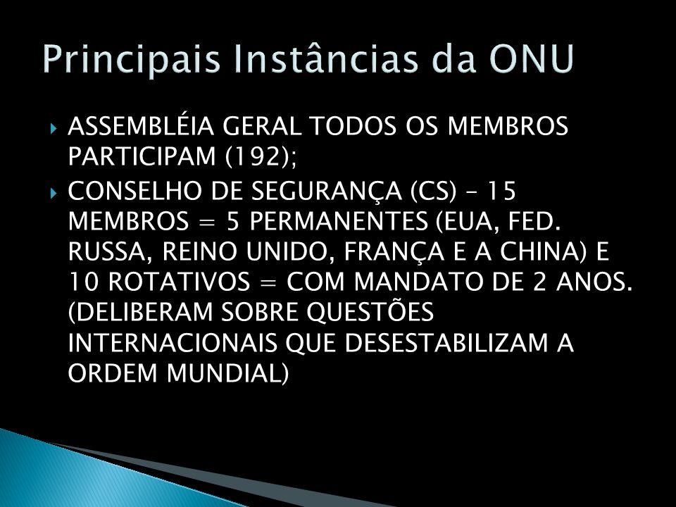 ASSEMBLÉIA GERAL TODOS OS MEMBROS PARTICIPAM (192); CONSELHO DE SEGURANÇA (CS) – 15 MEMBROS = 5 PERMANENTES (EUA, FED.