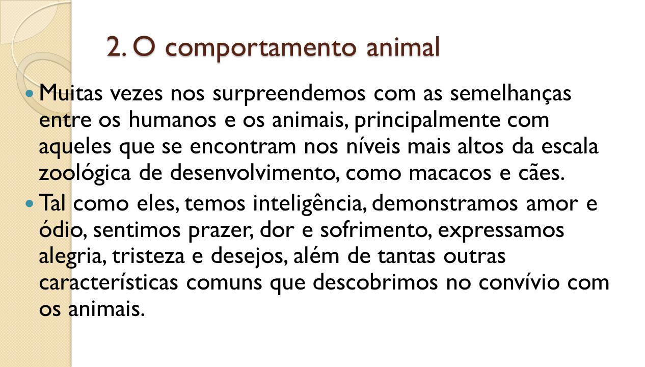 2. O comportamento animal Muitas vezes nos surpreendemos com as semelhanças entre os humanos e os animais, principalmente com aqueles que se encontram