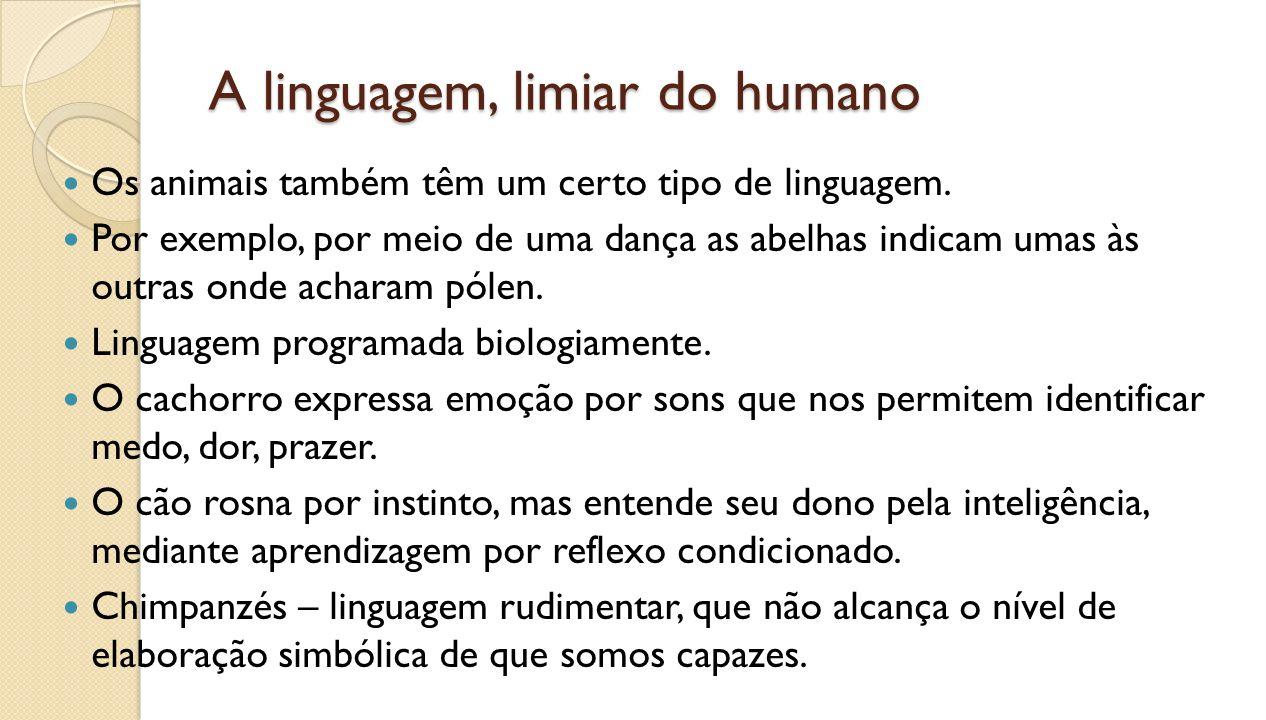 3.O agir humano, a cultura A linguagem humana intervém como forma abstrata.