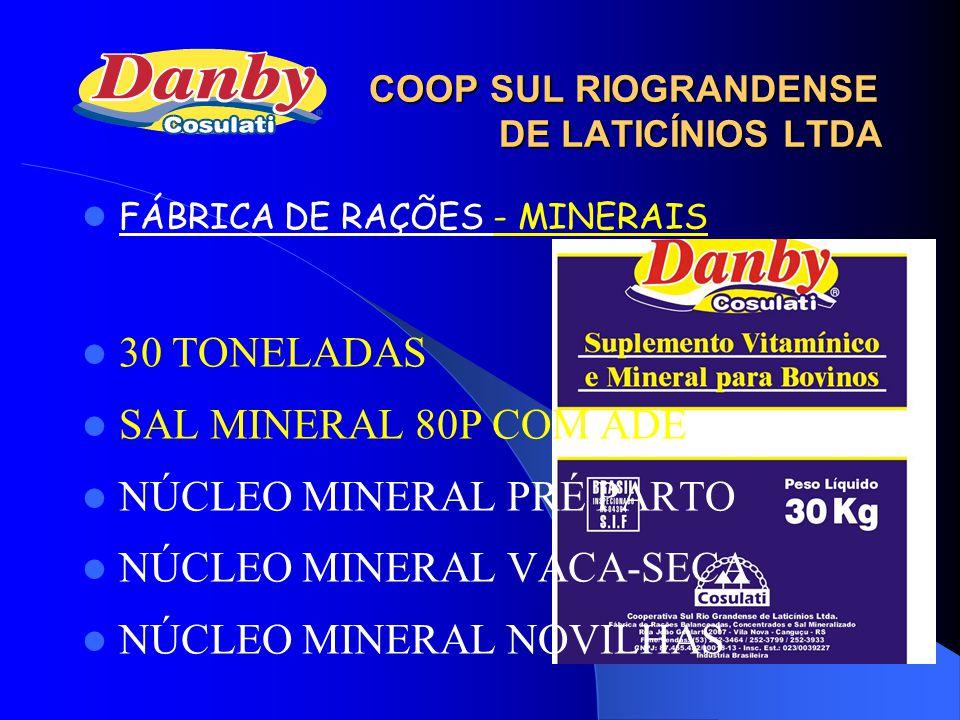 FÁBRICA DE RAÇÕES - MINERAIS 30 TONELADAS SAL MINERAL 80P COM ADE NÚCLEO MINERAL PRÉ PARTO NÚCLEO MINERAL VACA-SECA NÚCLEO MINERAL NOVILHAS COOP SUL R