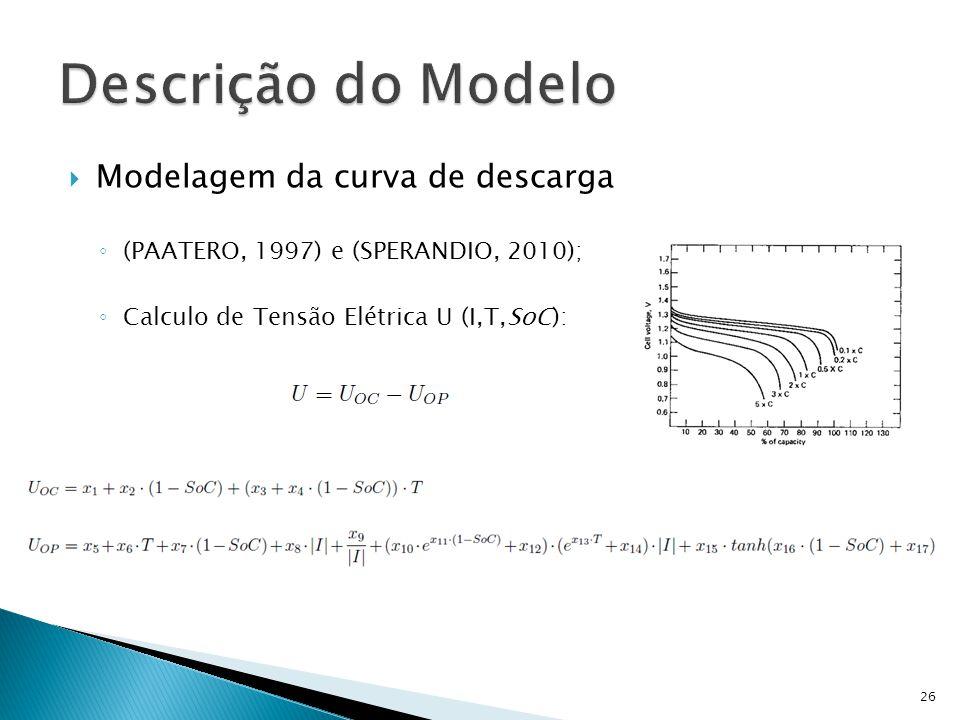 Modelagem da curva de descarga (PAATERO, 1997) e (SPERANDIO, 2010); Calculo de Tensão Elétrica U (I,T,SoC): 26