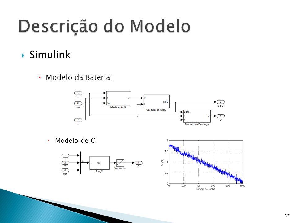 Simulink Modelo da Bateria: Modelo de C 37