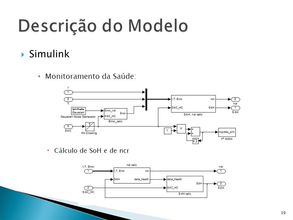 Simulink Monitoramento da Saúde: Cálculo de SoH e de ncr 39