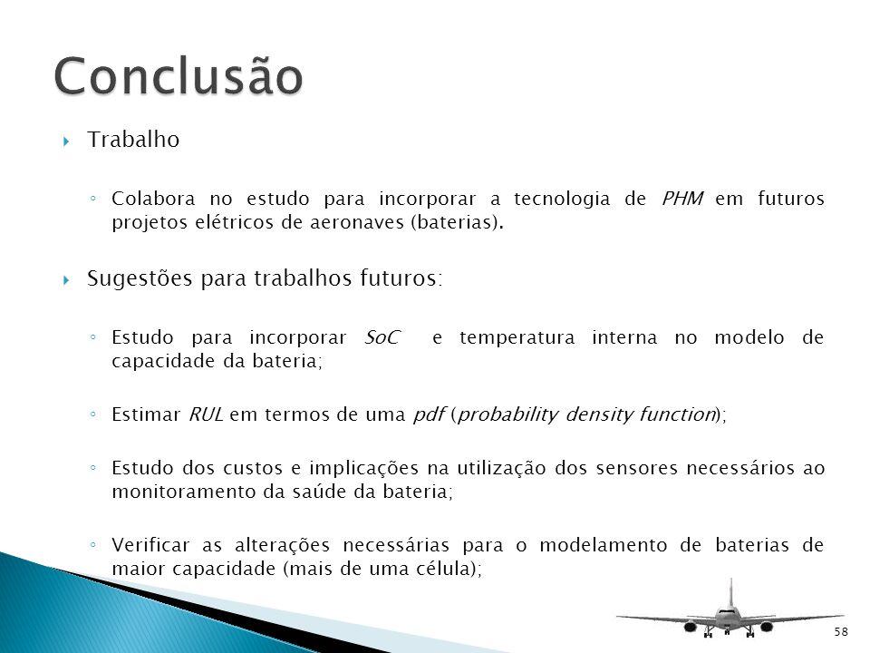Trabalho Colabora no estudo para incorporar a tecnologia de PHM em futuros projetos elétricos de aeronaves (baterias). Sugestões para trabalhos futuro